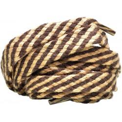 BEŻOWO - BRĄZOWE Grube płaskie sznurowadła 8 mm