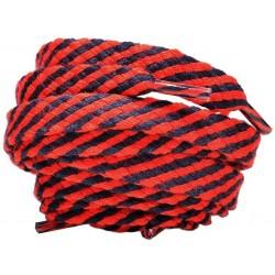 CZERWONO - CZARNE Grube płaskie sznurowadła