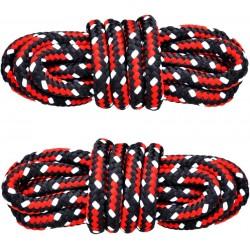 CZARNO-CZERWONE Trekkingowe sznurowadła 5 mm